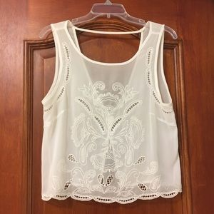 Crop top, open back, elegant, semi sheer blouse